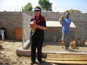5.Jill and Costa show off the new chickens